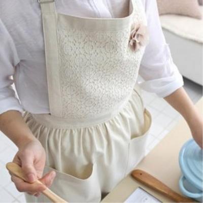 여성스러운 레이스 원피스 앞치마 두건 세트 어린이집 교사 주방