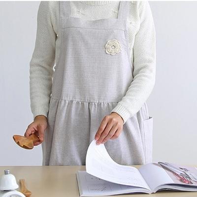 라떼 코사지 멜빵 원피스 앞치마 (오트밀체크) DS-308 어린이집 교사 주방
