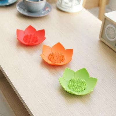연꽃 컬러풀 실리콘 비누 받침 홀더 수세미 받침