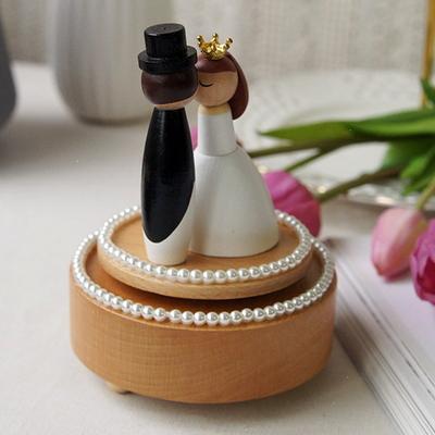 DS-725웨딩 진주 우드 오르골 신혼 결혼 선물