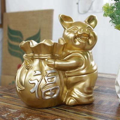 DS-878풍수 재물 복주머니 골드 돼지 장식품 개업선물