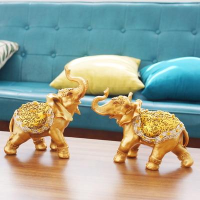 DS-884풍수 명품 골드 큐빅 코끼리 장식품 2P세트 개업선물