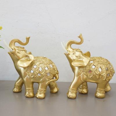 DS-886풍수 명품 골드 큐빅 코끼리 장식품 2P (소) 개업선물