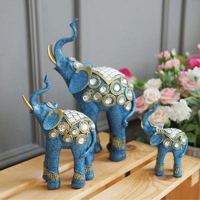 DS-890풍수 재물 큐빅 청 코끼리 장식품 3P set 개업선물