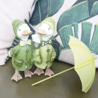 DS-983그린 우산 쓴 오리 커플 장식품 2P 개업 집들이 선물 카페 소품