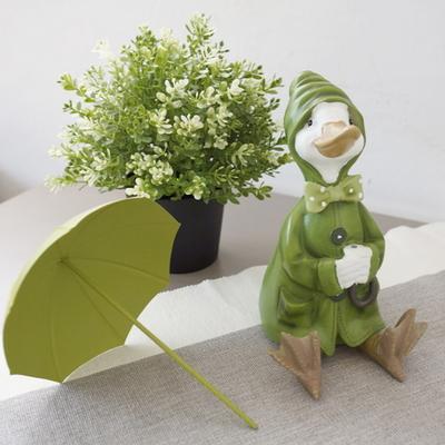 DS-984그린 우산 쓴 오리 장식품 1P 개업 집들이 선물 카페 소품