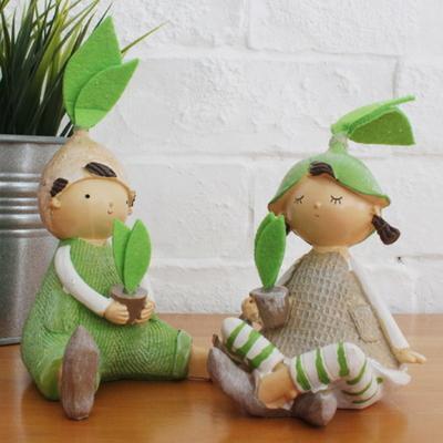 DS-S201앉은 나뭇잎 요정 장식품 2P세트 카페 소품 집들이 개업 선물