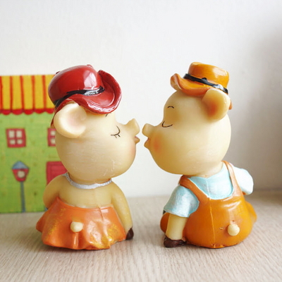 DS-S215뽀뽀 돼지 장식품 2P 카페 소품 집들이 개업 선물