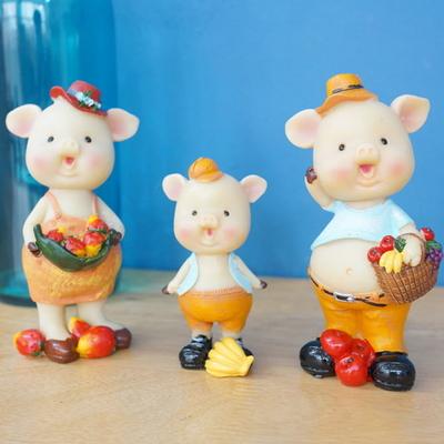 DS-S217과일 돼지 가족 장식품 3P 카페 소품 집들이 개업 선물