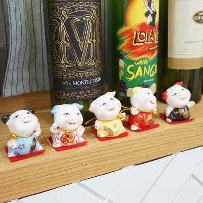 DS-S225미니 방울 복 돼지 장식품 5P(중) 카페 소품 집들이 개업 선물