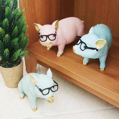 DS-S229컬러 안경 복 돼지 장식품 3color 카페 소품 집들이 개업 선물