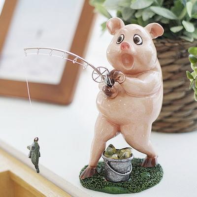 DS-S242낚시 핑크 돼지 장식품 1P 카페 소품 집들이 개업 선물