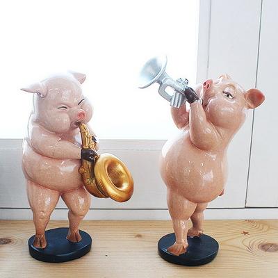 DS-S244트럼펫 핑크 돼지 장식품 2P세트 카페 소품 집들이 개업 선물