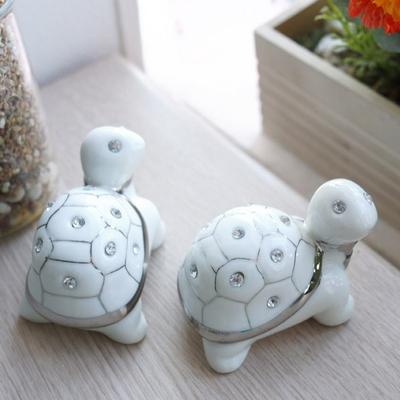 DS-S252화이트 큐빅 장수 거북이 장식품 2P세트 개업 집들이 선물