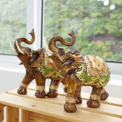 DS-S255풍수 재물 앤틱브라운 코끼리 장식품 2P세트 (대) 개업 집들이 선물