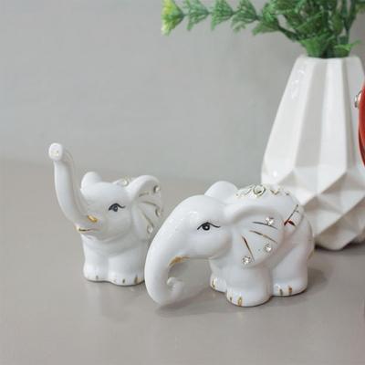 DS-S256풍수 재물 화이트나뭇잎 코끼리 장식품 2P 개업 집들이 선물