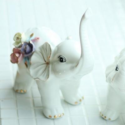 DS-S257풍수 재물 칼라 꽃 코끼리 장식품 2P 개업 집들이 선물