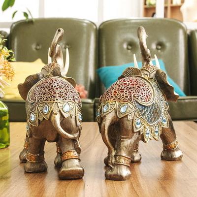 DS-S268풍수 블루 귀족 코끼리 장식품 2P 개업 집들이 선물 카페 소품