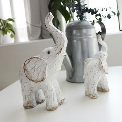 DS-S292빈티지 화이트  풍수 코끼리 장식품 2P 개업 집들이 선물 카페 소품