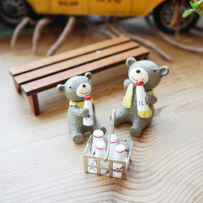 DS-S297곰돌이 우유 미니어처 4종 인테리어 카페 장식 소품 개업 선물