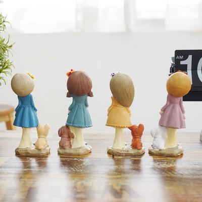 DS-S281소녀와 강아지 장식품 4P세트 개업 집들이 선물 카페 소품
