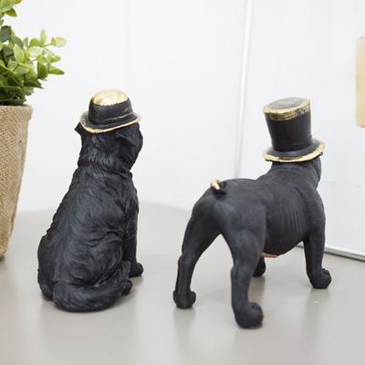 DS-S283금테모자 강아지 장식품 2P세트 개업 집들이 선물 카페 소품