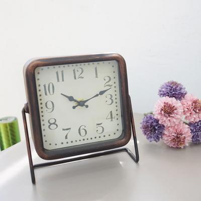 DS-S404빈티지 사각 탁상시계 2color 카페 소품 집들이 개업 선물