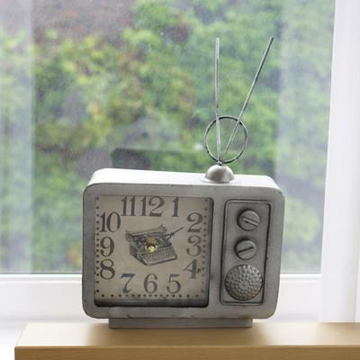 DS-S408빈티지 안테나 TV 탁상시계 2color 카페 소품 집들이 개업 선물