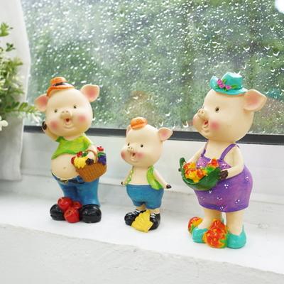 DS-D21후르츠 돼지 가족 소품 3P세트 카페 장식품 집들이 개업 선물