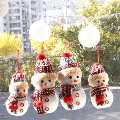 DS-J47뜨개모자 눈사람 인형 4종 크리스마스 선물 장식 카페 소품