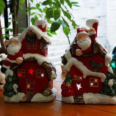 DS-S307산타 하우스 캔들 홀더 1P 크리스마스 선물 장식 카페 소품