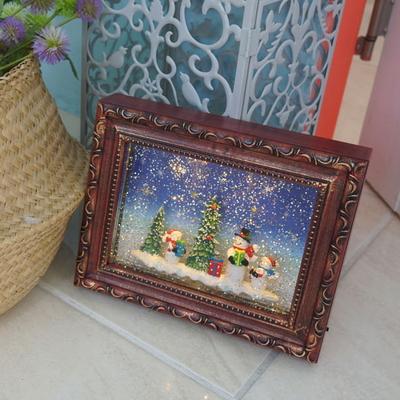 DS-S347 LED 워터볼 오르골 액자 크리스마스 선물 장식 카페 소품