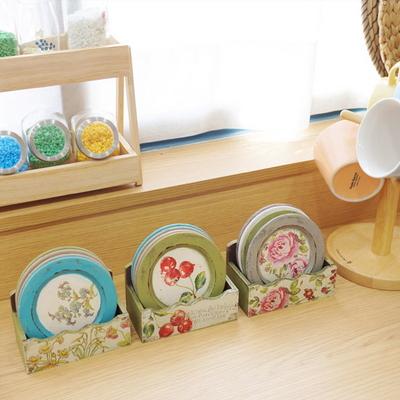 DS-S361빈티지 우드 컵받침 4P세트(꽂이포함) 카페 인테리어 소품