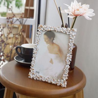 DS-S107화이트 플라워 큐빅 사진 액자 2size 인테리어 탁상용 포토 소품