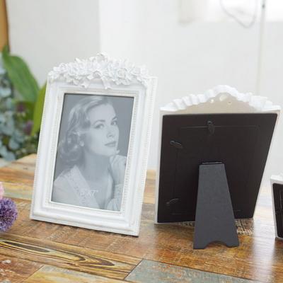 DS-S122화이트 장미 사진 액자 3size 인테리어 탁상용 포토 소품