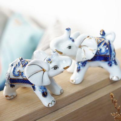 DS-S222세라믹 7마리 풍수 코끼리 장식품 개업 집들이 선물 카페 소품