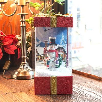 DS-S414 LED 선물상자 오르골 (산타 눈사람) 크리스마스 선물 장식