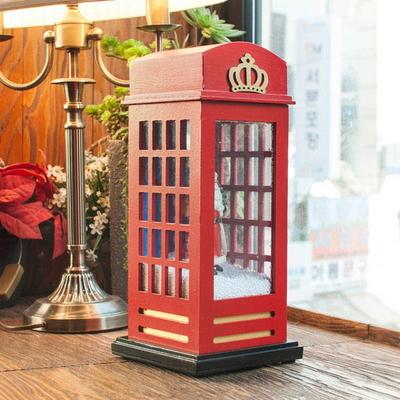 DS-S415 LED 공중전화 산타 오르골 크리스마스 선물 장식