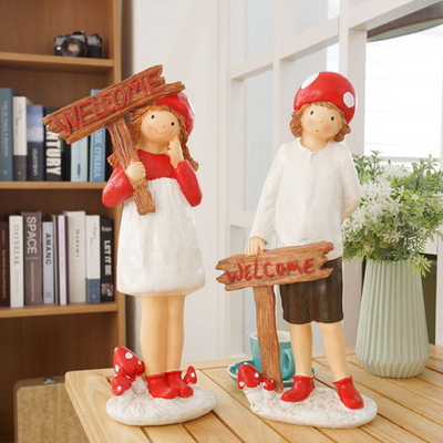 DS-S513웰컴 버섯 요정 장식품 (소년 소녀) 집들이 개업 선물 카페 소품