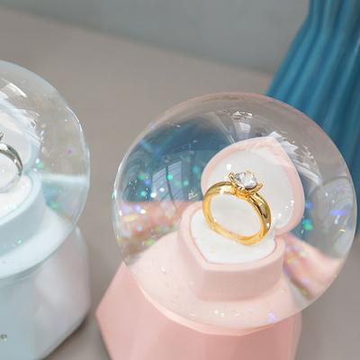 DS-S518다이아반지 LED 워터볼 오르골 (소) 생일 결혼 선물