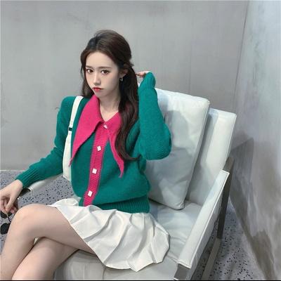 가인 컬러 배색 빅 카라 가디건