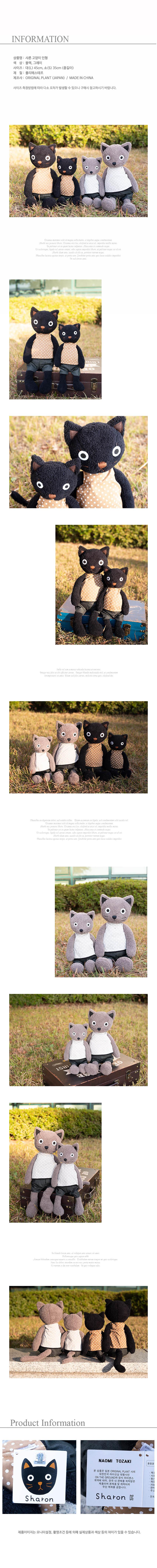 DS-B35 샤론 고양이 인형 2color 카페 소품 생일선물 - 리빙톡톡, 32,000원, 애니멀인형, 곰 인형