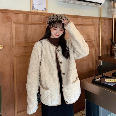 큐티 누빔 뽀글이 노카라 코트 겨울 여성 자켓