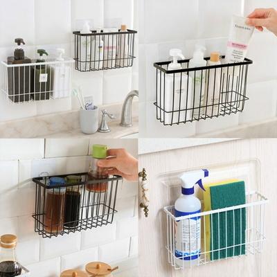 DS-A73간편부착 주방 욕실 철제 바구니 선반 (화이트)