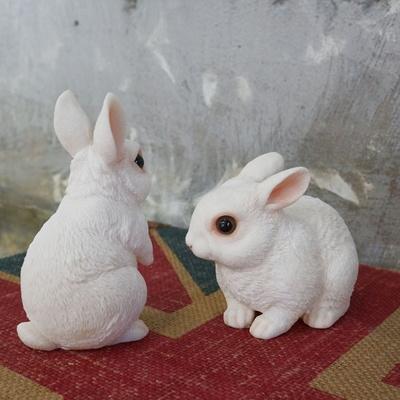 DS-S736리얼 화이트 토끼 장식인형 2P 카페 소품