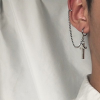 남자 귀걸이 투핀 십자가 연골 써지컬 귀찌 force