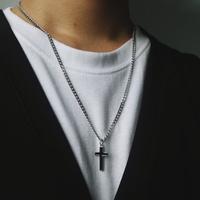 남자 목걸이 써지컬스틸 십자가 체인 BCN