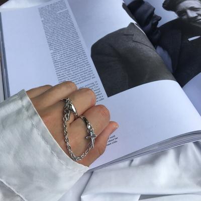 남자 반지 패션 두줄 체인 써지컬 스틸 string thin