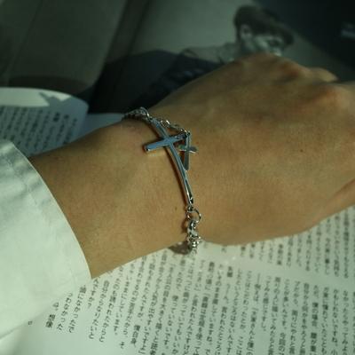 남자 팔찌 십자가 학생 체인 big point cross pendant bracelet