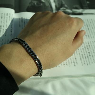 남자 팔찌 블랙 학생 체인 Black Silver Thin Bracelet